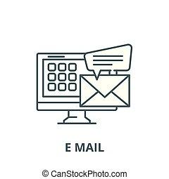 e, 線である, 概念, シンボル, 印, ベクトル, アイコン, メール, 線, アウトライン