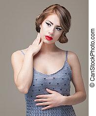 e, 肖像画, 美しさ, 若い女性, ポーズを取る, ブロンド, ファッション