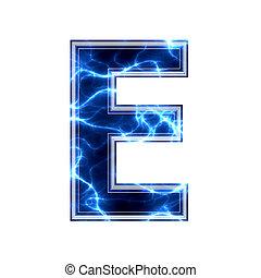 e, 電気である, -, 背景, 手紙, 白, 3d