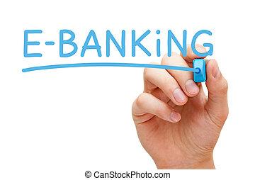 e- 은행 업무, 파랑, 표를 붙이는 사람
