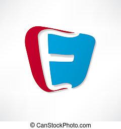 e, abstrakcyjny, dokumentowany, litera, ikona