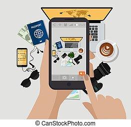 e, accessories., resa, pass, dator, foto, utsikt., solglasögon, holdingen, bok, vektor, kamera, topp, hand, photo., ringa, kopp, illustration., mobil, göra, map., kaffe
