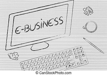 e-affaires, texte, bureau, coffe, écran, clavier ordinateur
