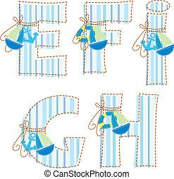 ¡!, e, alphabet., h, labor de retazos, carta g, f
