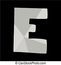 E alphabet letter isolated on black