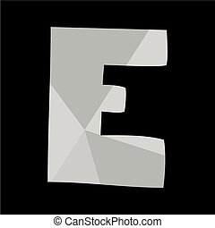 E alphabet letter isolated on black