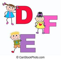 e, alphabet, lettres, d, f