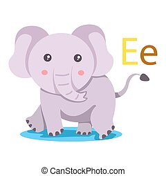 E alphabet vector animal