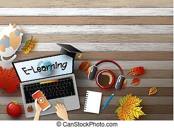 e-apprendre, concept, conception, de, jeune femme, portable utilisation, informatique, à, feuilles automne, sur, bois, fond, vecteur, illustration