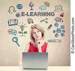 e-apprendre, concept, jeune femme
