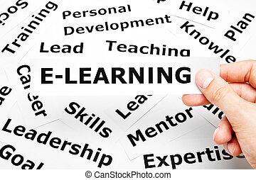 e-apprendre, concept, mots, autre, apparenté