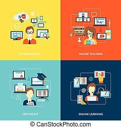 e-apprendre, icône, plat