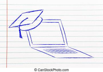 e-apprendre, ligne, cours, et, chapeau repére