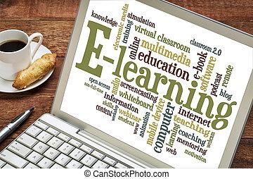e-apprendre, mot, ordinateur portable, nuage