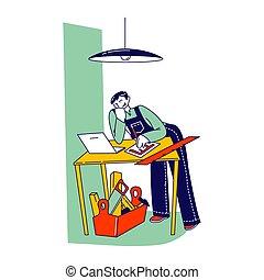 e-apprendre, self-education, porter, mâle, online., travaux ...