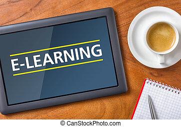 e-apprendre, -, tablette, bureau