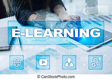 e-aprendendo, ligado, a, virtual, screen., internet, educação, conceito