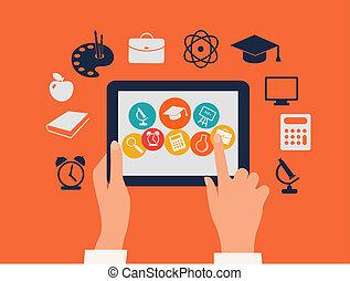 e- aprendizaje, concept., manos, conmovedor, un, tableta,...