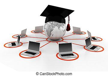 e- aprendizaje, concepto, 3d