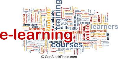 e- aprendizaje, concepto, plano de fondo