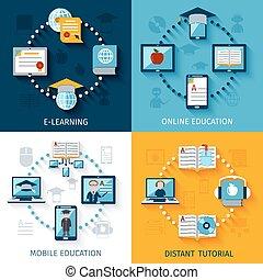 e- aprendizaje, conjunto, iconos