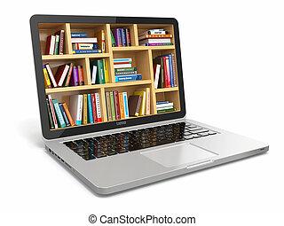 e- aprendizaje, educación, o, internet, library., computador portatil, y, books.