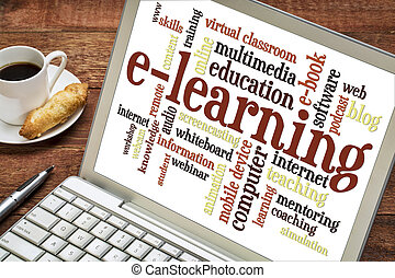 e- aprendizaje, palabra, nube, en, computador portatil