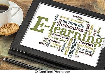 e- aprendizaje, palabra, nube
