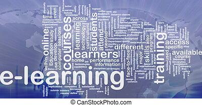 e- aprendizaje, plano de fondo, concepto