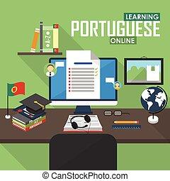 e- aprendizaje, portugués, language.