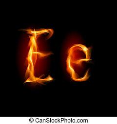 e, ardent, font., lettre
