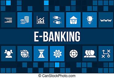 e-bancaire, concept, icones affaires, copyspace., image