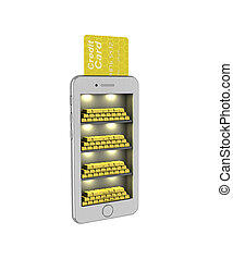 E-banking. Gold bullion in the smartphone. 3d illustration on a white background. Render.