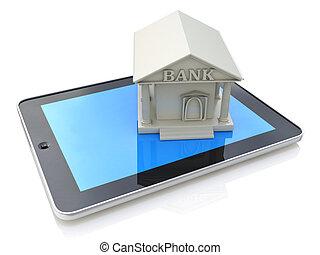e-bankowość, e, bankowość, tabliczka, komputer, pc, z, bank, 3d, ikona