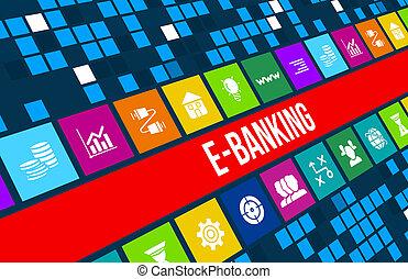 e-bankwesen, begriff, bild, mit, geschäfts-ikon, und, copyspace.