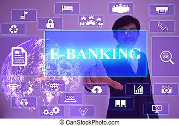 e-bankwesen, begriff, dargestellt, per, geschäftsmann, berühren, auf, virtuell, schirm, element, möbliert, per, nasa