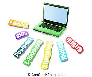 e-bankwesen, nachricht, und, laptop