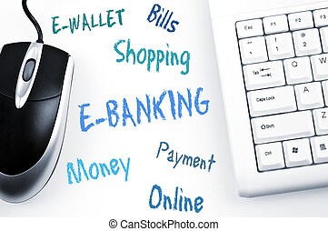 e-bankwesen, wort, schema, und, computertastatur