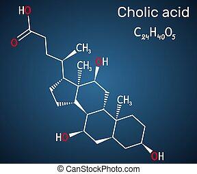 e, bilis, fórmula, oscuridad, primario, ácido, liver., producido, alimenticio, mayor, cholic, ácido, él, estructural, c24h40o5, 1000., azul, químico, plano de fondo, suplemento, molecule.