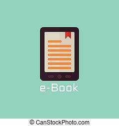 e, boek, lezer, vector, plat, pictogram