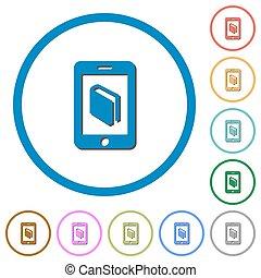 e-boeken, iconen, met, schaduwen, en, overzichten