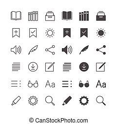 e-boeken, lezer, iconen, included, normaal, en, in staat stellen, state.