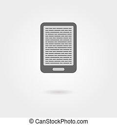 e-boeken, lezer, pictogram, met, schaduw