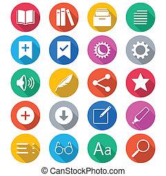 e-boeken, lezer, plat, kleur, iconen