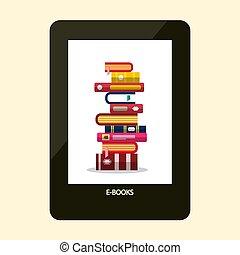e-boeken, reader., e-reader, apparaat, met, boekjes , op, screen., vector, plat, ontwerp, illustration.