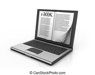 e-book 3d concept - book instead of display on the notebook...