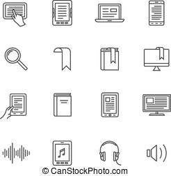 E-book and audio books icons