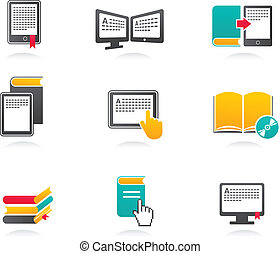 E-book, audiobook and literature icons - 2
