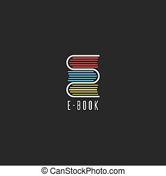 E-book bookstore logo, online school education emblem mockup, reading club icon, stack books in the shape of the letter E