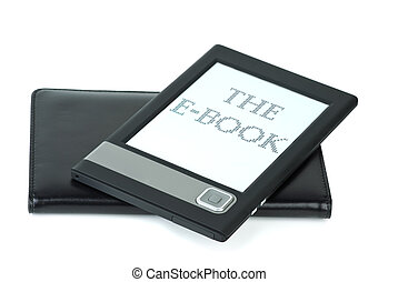 E-book device and cover isolated on the white background
